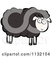 Cartoon Of A Black Sheep Royalty Free Vector Clipart