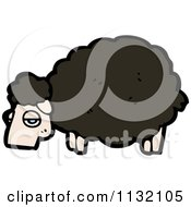 Cartoon Of A Black Sheep Royalty Free Vector Clipart by lineartestpilot