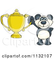 Cartoon Of A Successful Panda Holding A Trophy Royalty Free Vector Clipart