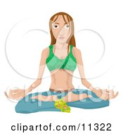 Young Hippy Woman Seated In The Lotus Yoga Position Clipart Illustration