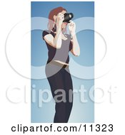 Female Photographer Holding A Camera To Take A Picture Clipart Illustration by AtStockIllustration