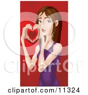 Young Woman Holding Her Hands Together To Form A Heart On Valentines Day Clipart Illustration