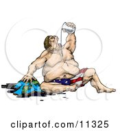 Greedy Fat Man Personification Of America Gulping Earths Natural Oil Resources Clipart Illustration