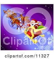 Santa Waving While Flying By In His Sleigh With His Reindeer Clipart Illustration