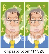 Man With Backgrounds Of Euro Pounds And Dollars Clipart Illustration
