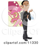 Male Artist Standing In Front Of A Piece Of Art At A Gallery by AtStockIllustration