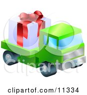 Lorry Toy Truck Hauling A Christmas Present Clipart Illustration by AtStockIllustration