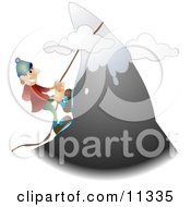 Male Mountain Climber Climbing A Snow Capped Mountain Clipart Illustration