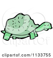 Cartoon Of A Green Tortoise Royalty Free Vector Clipart by lineartestpilot