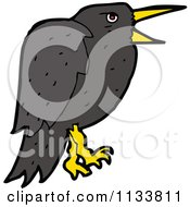 Cartoon Of A Raven Crow Bird 2 Royalty Free Vector Clipart