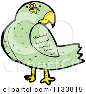 Cartoon Of A Green Parrot Royalty Free Vector Clipart