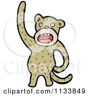 Cartoon Of A Brown Monkey Royalty Free Vector Clipart by lineartestpilot