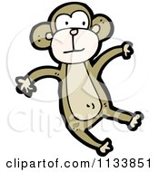 Cartoon Of A Brown Monkey 2 Royalty Free Vector Clipart by lineartestpilot