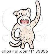Cartoon Of A White Monkey Royalty Free Vector Clipart by lineartestpilot