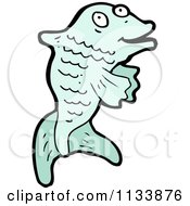 Cartoon Of A Blue Fish Royalty Free Vector Clipart by lineartestpilot