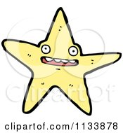 Cartoon Of A Yellow Starfish Royalty Free Vector Clipart by lineartestpilot