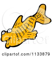 Cartoon Of An Orange Fish Royalty Free Vector Clipart by lineartestpilot