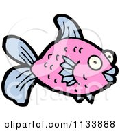 Cartoon Of A Pink Fish 2 Royalty Free Vector Clipart