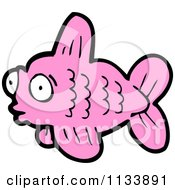 Cartoon Of A Pink Fish 1 Royalty Free Vector Clipart