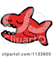 Cartoon Of A Red Piranha Fish Royalty Free Vector Clipart