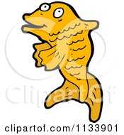 Cartoon Of An Orange Koi Fish Royalty Free Vector Clipart by lineartestpilot