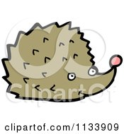 Cartoon Of A Brown Hedgehog Royalty Free Vector Clipart by lineartestpilot