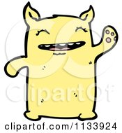 Cartoon Of A Waving Yellow Monster Royalty Free Vector Clipart by lineartestpilot