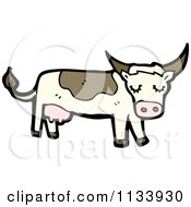 Cartoon Of A Farm Cow Royalty Free Vector Clipart by lineartestpilot