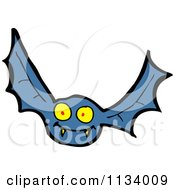 Cartoon Of A Blue Vampire Bat 2 Royalty Free Vector Clipart