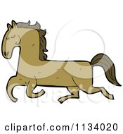 Cartoon Of A Running Brown Horse Royalty Free Vector Clipart by lineartestpilot