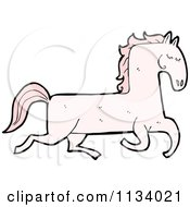 Cartoon Of A Running Pink Horse Royalty Free Vector Clipart by lineartestpilot