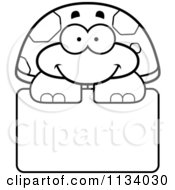 Cartoon Clipart Of An Outlined Happy Tortoise Turtle Over A Sign Black And White Vector Coloring Page by Cory Thoman