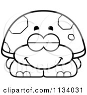 Cartoon Clipart Of An Outlined Sleeping Tortoise Turtle Black And White Vector Coloring Page by Cory Thoman
