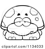 Cartoon Clipart Of An Outlined Depressed Tortoise Turtle Black And White Vector Coloring Page