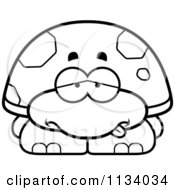 Cartoon Clipart Of An Outlined Sick Tortoise Turtle Black And White Vector Coloring Page by Cory Thoman