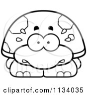 Cartoon Clipart Of An Outlined Scared Tortoise Turtle Black And White Vector Coloring Page by Cory Thoman