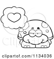 Cartoon Clipart Of An Outlined Tortoise Turtle In Love Black And White Vector Coloring Page by Cory Thoman