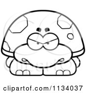 Cartoon Clipart Of An Outlined Angry Tortoise Turtle Black And White Vector Coloring Page by Cory Thoman