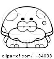 Cartoon Clipart Of An Outlined Bored Tortoise Turtle Black And White Vector Coloring Page