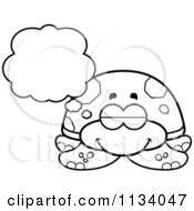 Cartoon Clipart Of An Outlined Dreaming Sea Turtle Black And White Vector Coloring Page by Cory Thoman