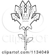 Cartoon Clipart Of An Outlined Bored Marijuana Pot Leaf Mascot Black And White Vector Coloring Page