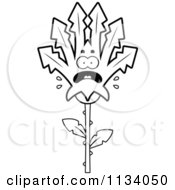 Cartoon Clipart Of An Outlined Scared Marijuana Pot Leaf Mascot Black And White Vector Coloring Page