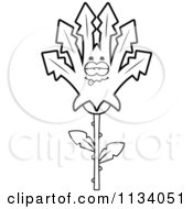Cartoon Clipart Of An Outlined Sick Marijuana Pot Leaf Mascot Black And White Vector Coloring Page
