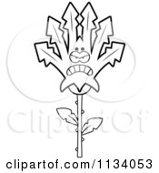 Cartoon Clipart Of An Outlined Mad Marijuana Pot Leaf Mascot Black And White Vector Coloring Page by Cory Thoman