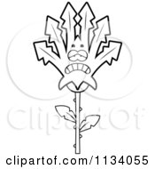 Cartoon Clipart Of An Outlined Depressed Marijuana Pot Leaf Mascot Black And White Vector Coloring Page by Cory Thoman