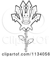 Cartoon Clipart Of An Outlined Happy Marijuana Pot Leaf Mascot Black And White Vector Coloring Page