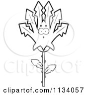 Cartoon Clipart Of An Outlined Surprised Marijuana Pot Leaf Mascot Black And White Vector Coloring Page by Cory Thoman