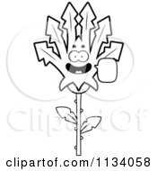 Cartoon Clipart Of An Outlined Talking Marijuana Pot Leaf Mascot Black And White Vector Coloring Page by Cory Thoman