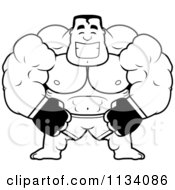 Cartoon Clipart Of An Outlined Happy Buff MMA Fighter Black And White Vector Coloring Page by Cory Thoman