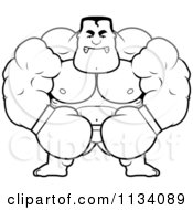 Cartoon Clipart Of An Outlined Angry Buff Boxer Black And White Vector Coloring Page by Cory Thoman